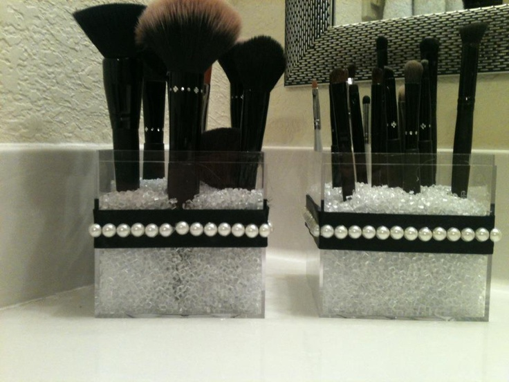 brush holder beads. makeup brush holders. bead filler from michael\u0027s, containers container store, black ribbon holder beads