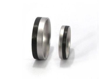Carbon Fiber & Titanium Ring Men's Wedding Band Black by Rosler