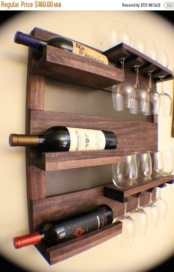 NO ChristmasDelivery SALE Rustic Dark Cherry Stained Wall Mounted Wine Rack with Shelves and Decorative Mesh, Wine and Liquor Shelf and Cabi