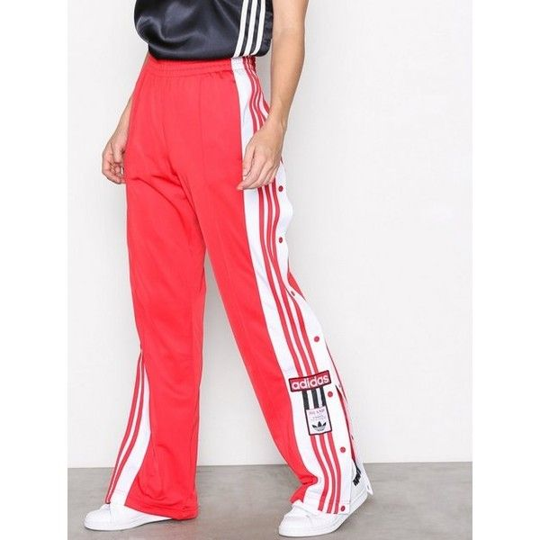 Adidas Originals Adibreak Pant ($92) ❤ liked on Polyvore featuring pants, pants & shorts, red, womens-fashion, zipper pants, striped trousers, adidas originals, drawstring pants and red trousers