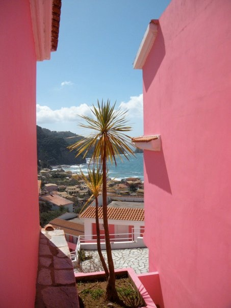 Corfu, Greece | Pink Walls & Palm Trees