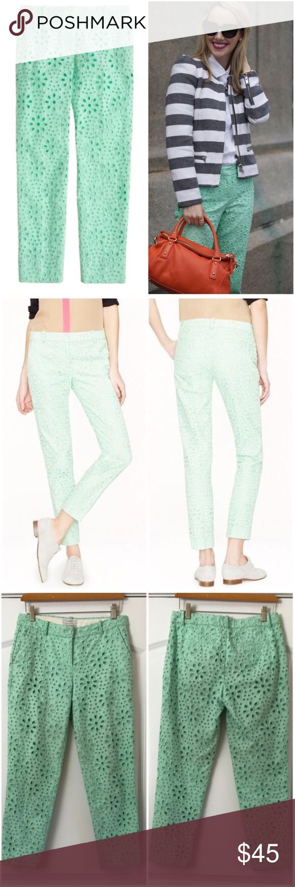 """J. Crew Cafe Capri Pinwheel Eyelet Mint Green Pant Adorable J. Crew cafe Capri Lace pants. Beautiful sea foam color. Eyelet Lace exterior for added texture. In perfect condition. Two hip pockets and two pack pockets. Inseam 24.5"""" Across waist 15"""" J. Crew Pants Ankle & Cropped"""