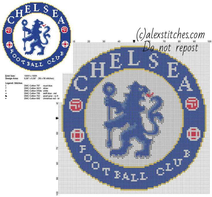 Chelsea F.C. soccer team badge logo free cross stitch pattern 96 x 96 stitches 6 DMC threads