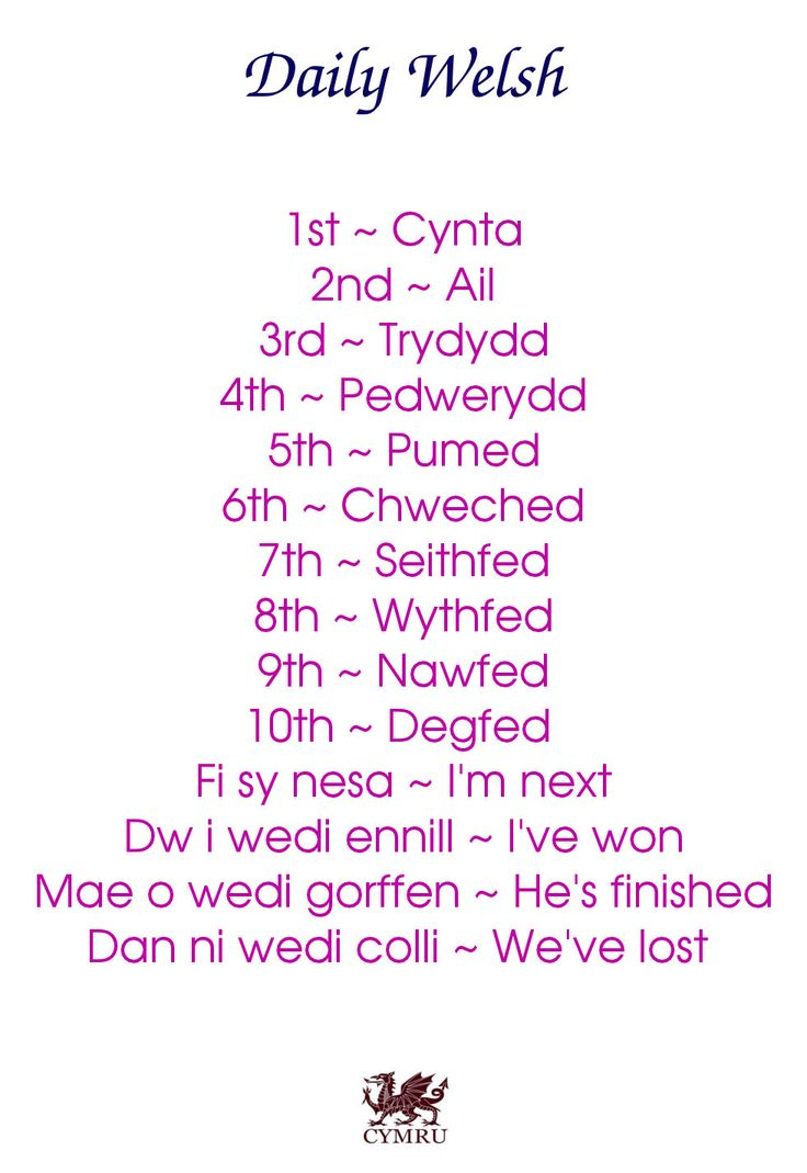 Daily Welsh - I think 'first' should read - 'cyntaf'.