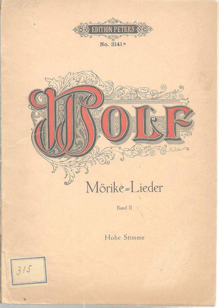 Morike Lieder Song Book Hugo Wolf German English Sheet Music Band II Vintage