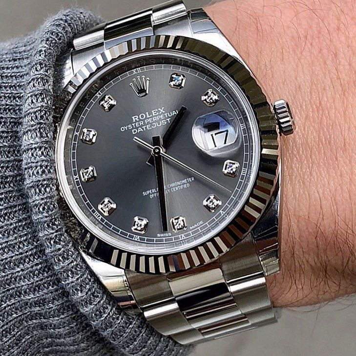 Datejust 41 Ref 126334 Dark Rhodium Diamonds Rolexshowisrael