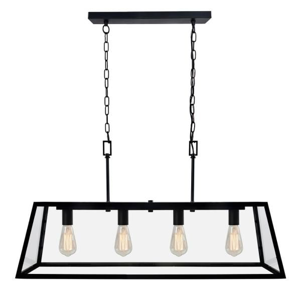 Decor Living 4 Light Matte Black Kitchen Island Light Chandelier With Clear Glass Shade P113 4lt The Home Depot Black Kitchen Island Kitchen Island Lighting Matte Black Kitchen