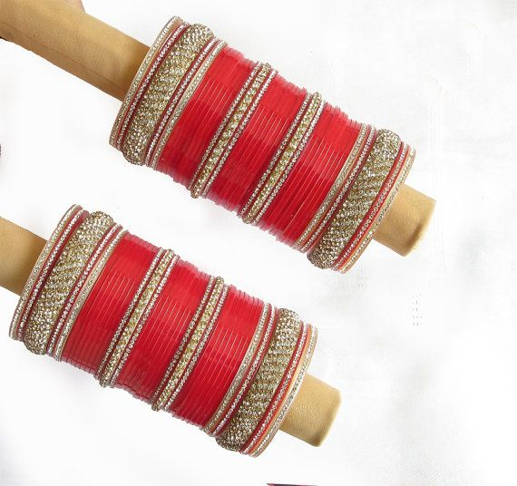 Bridal wedding chura bangles set/rhinestones by Beauteshoppe