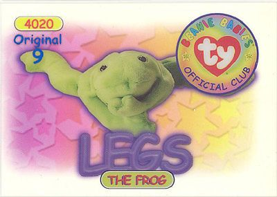 93dad92060b Trading Cards 1496  Ty Beanie Babies Bboc Card - Series 1 Original 9 (Blue)  - Legs The Frog - Nm M -  BUY IT NOW ONLY   12.89 on  eBay  trading  cards  ...