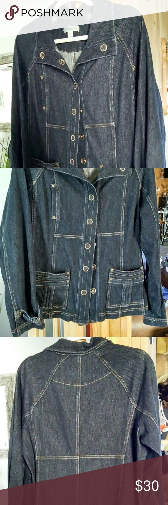 "Denim Jean Jacket Coldwater Creek Cowgirl BOHO Dark blue denim jacket generous cut. Length from collar to hem is 26"".  Excellent condition, has oversize snaps, fits 12/14. Coldwater Creek Jackets & Coats Jean Jackets"