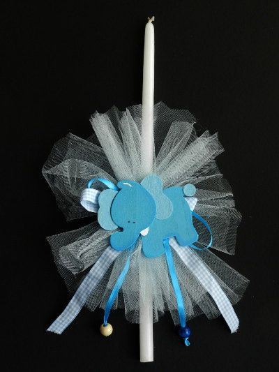 Easter Candle The Blue Elephant by pinelopiCreations on Etsy, $15.00