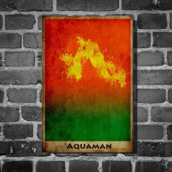 Aquaman justice league movie poster minimalist poster comic book print comic book art