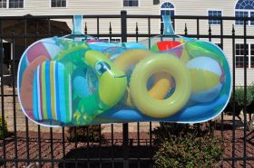 "The Pool Blaster® Pool Pouch easily hangs from walls, fences, gates, solid side pool walls, etc. 60"" Wide x 30"" High x 12"" Deep"