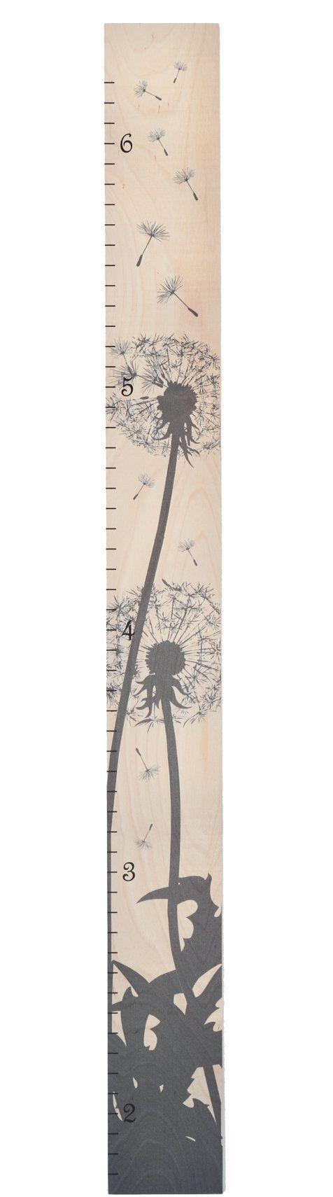 Dandelion Silhouette Modern Wooden Ruler Growth by GrowthChartArt