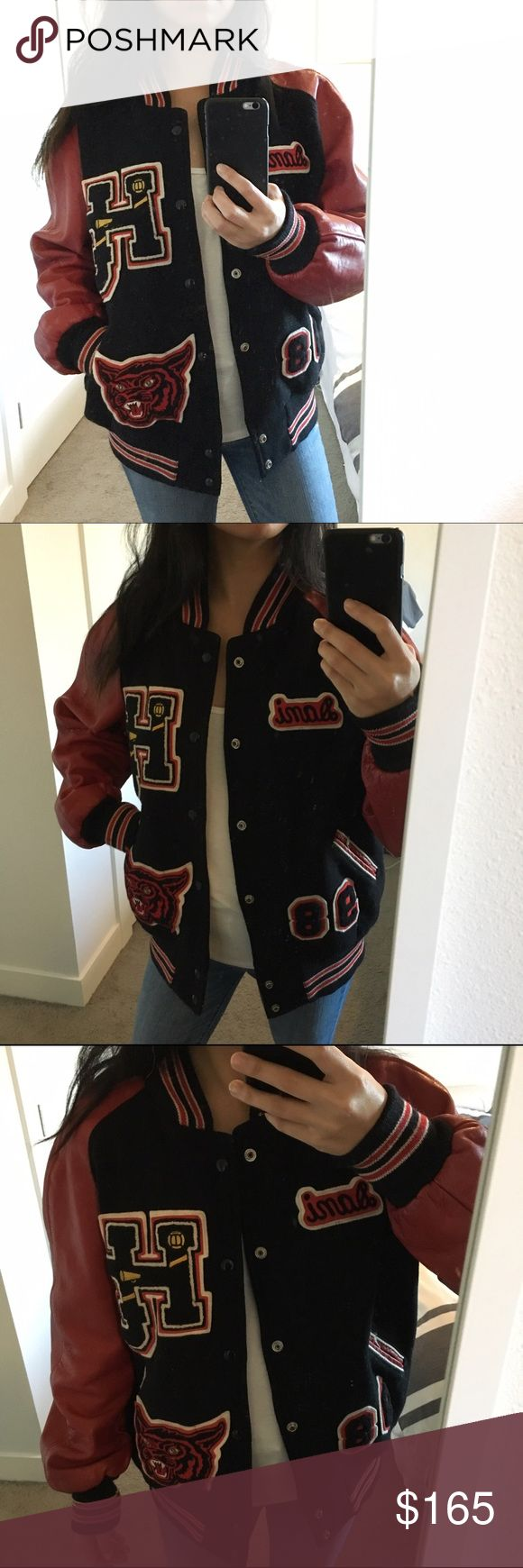 "Vintage Varsity Letterman Bomber Jacket Not listed brand* You guys, this jacket is one of my favorites. It's a 90's vintage patched letterman jacket, no idea the size but I'm 5'4"" 115lbs and size small. I can provide measurements before purchasing but will mark it a M. Cool worn oversized. See photos for little flaws in leather and on inside of sleeve. Honestly it is in awesome vintage condition. Leather sleeves with snap button closure. Could use a dry cleaning for a fresh clean feel. Dani…"