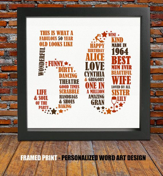 Framed 50th Birthday Gift  50th birthday 50th by BlingPrints