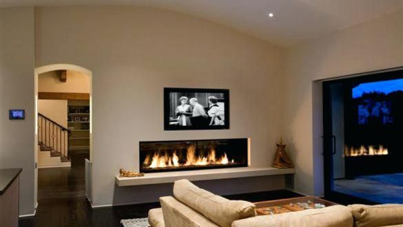Low Profile Gas Fireplace Vent Free Wall Mount Condo Living Room