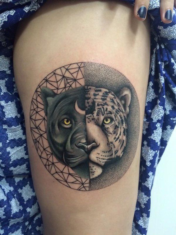 0e51c58449f39 Leopard Yin Yang tattoo. Big cats can take part in the Yin Yang tattoos as  well; in this tattoo the black and orange spotted leopards are placed  beside each ...