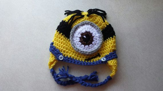 Minion hat Despicable Me One Eyed Minion by TheCrochetShoppeUSA