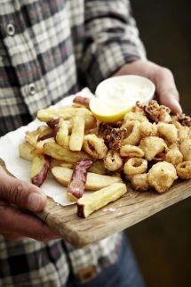 Calamari and fat cut chips