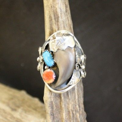 Black Bear Claw with Turquoise & Coral Ring