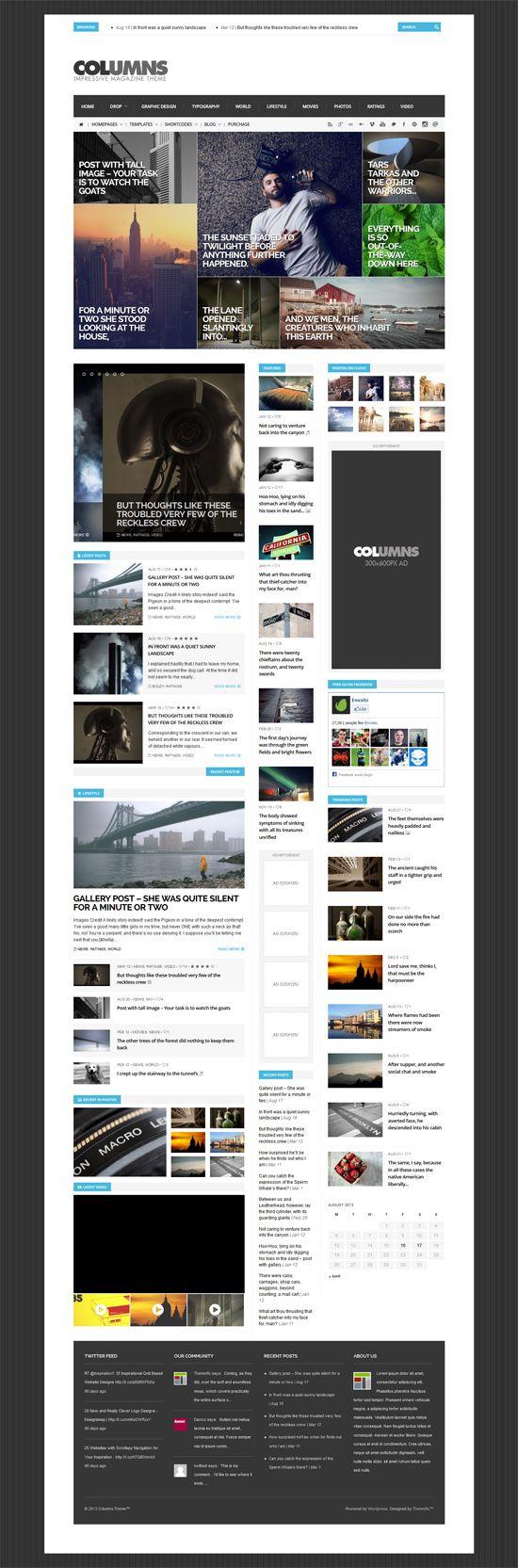 Columns - Impressive Magazine and Blog theme #wordpressthemes #responsivewordpressthemes #flatdesign #responsivedesign