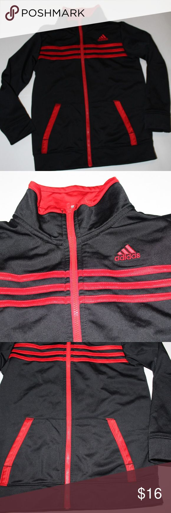 EUC boys Adidas zip up EUC Boys Adidas zip up black and red please ask questions if you have them I also love offers or create a bundle and i will send you a private discount. adidas Shirts & Tops Sweatshirts & Hoodies