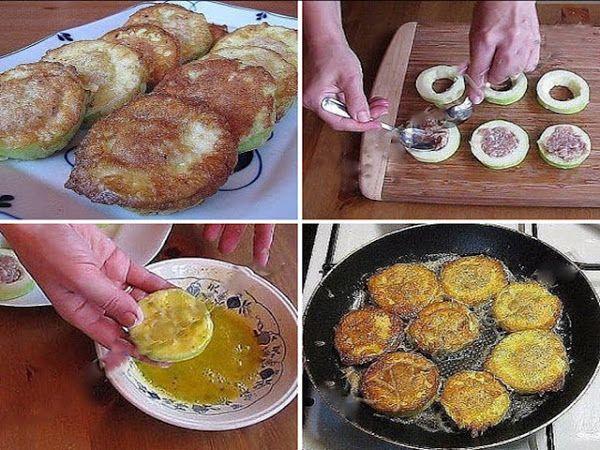 Лучшие кулинарные рецепты: Кабачки с мясом в кляре