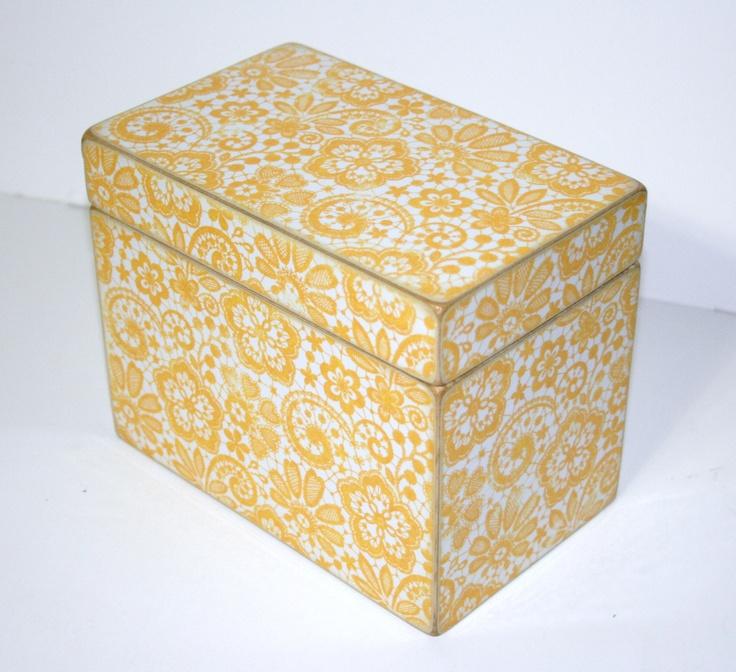 Recipe Box  Yellow and White Handmade 4x6 by TheAdornedAbode, $34.00
