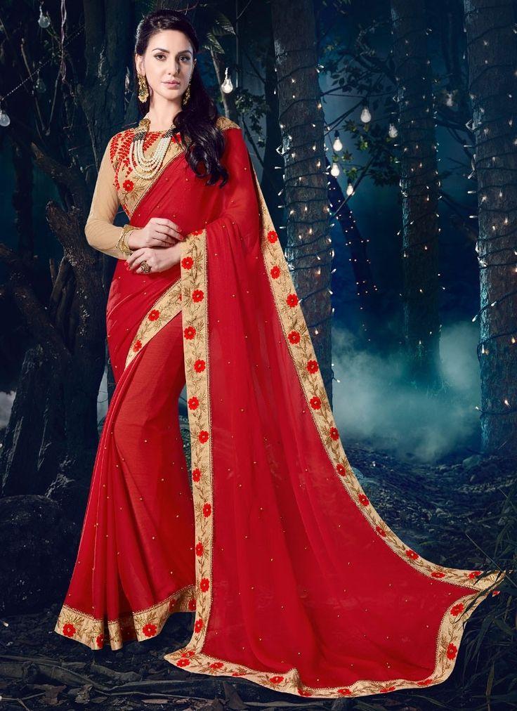 Shop Online Red Chiffon #DesignerSarees @Chennaistore.com