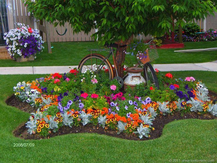 Beautiful flower bed around tree Green thumb Pinterest