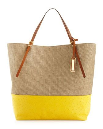 Michael Kors Large Gia Slouchy Two-Tone Tote.