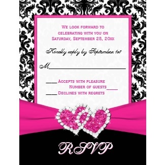 Black, White, Pink Damask  Hearts Reply Card