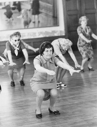 Bendy Ladies A group of elderly women exercising in a 'keep fit' class, New York, c1965 (Keystone / Getty Images)