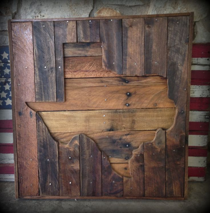 "Stained recycled pallet Texas sign. 24"" X 24"" approx. (Items are made from recycled materials so sizes vary ) These can also be made a custom size just message me for prices. Other States available al"