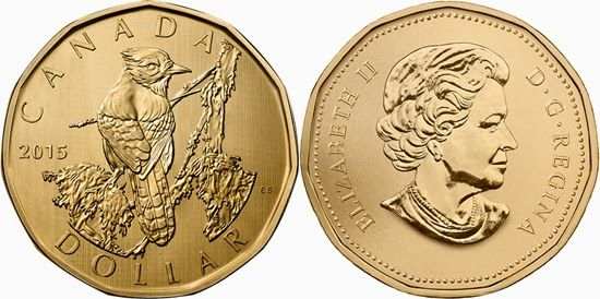 Canada 1 dollar 2015 - the Blue Jay This beautiful dollar coin is released only in the Specimen Set