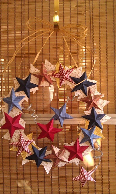 4th of July paper star wreath