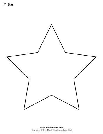 photograph relating to Star Template Printable Free known as Star Template - 7 Inch - Tims Printables templates Star