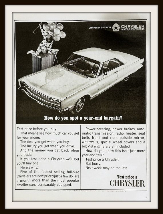 1966 Chrysler Newport Advertisement. Vintage by vintageadsnprints