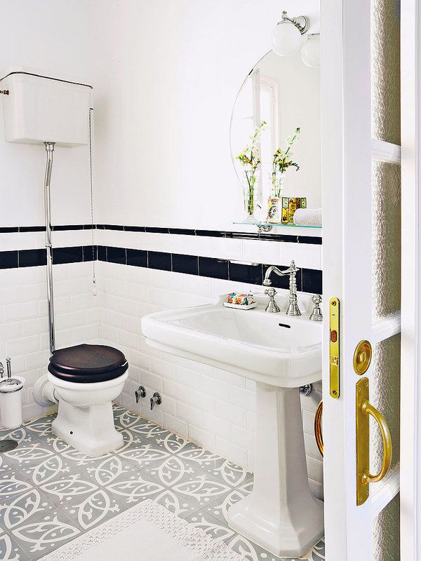 Un baño de inspiración vintage