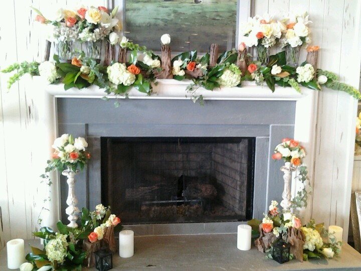 Daevids of norfolk flowers and decorations for a mantle