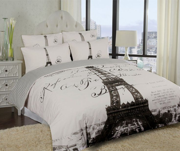 elegant paris eiffel tower bedding twin full queen duvet cover or comforter combo set white grey. Black Bedroom Furniture Sets. Home Design Ideas