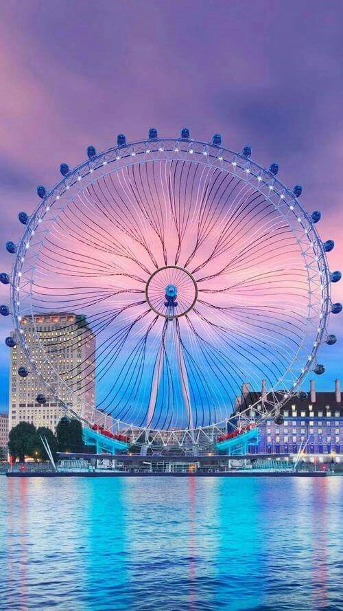 The London Eye ~ is a giant Ferris wheel located on the South Bank of River Thames