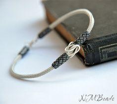 OOAK Mens Woven Chain Braided Bracelet Fine Silver Love Knot Everyday Jewelry Viking Knit Chain Boyfriend Anniversary Gift For Him Kazaziye