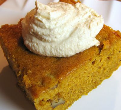 Pumpkin Spice Cake with Cinnamon Whipped Cream, recipe from Southern Living 2005, originally with cream cheese frosting: 1 (3 oz.) pkg cream cheese, softened, 1/3 cup butter, softened, 1 tsp. vanilla extract, 2 C powdered sugar