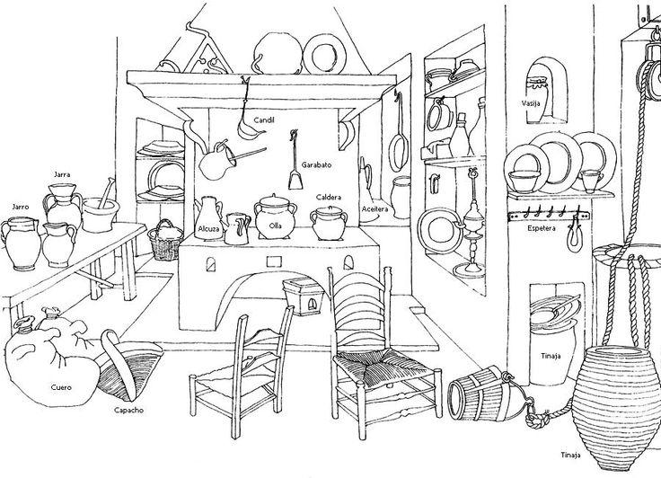 La cocina. Vasijas y recipientes.