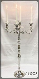 Silver Candelabra 39 inch tall with 7 inch plate and 4 Led Taper Candles # 110027
