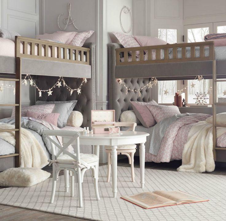 Chesterfield upholstered full-over-full bunk bed - Restoration Hardware baby & child.