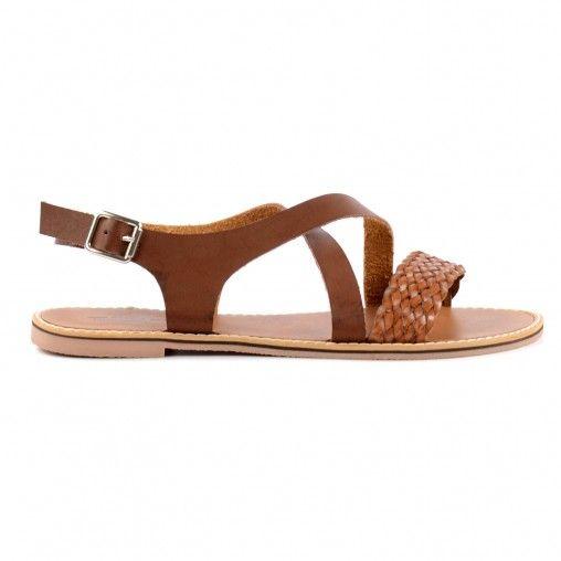 Gevlochten sandalen - bruin