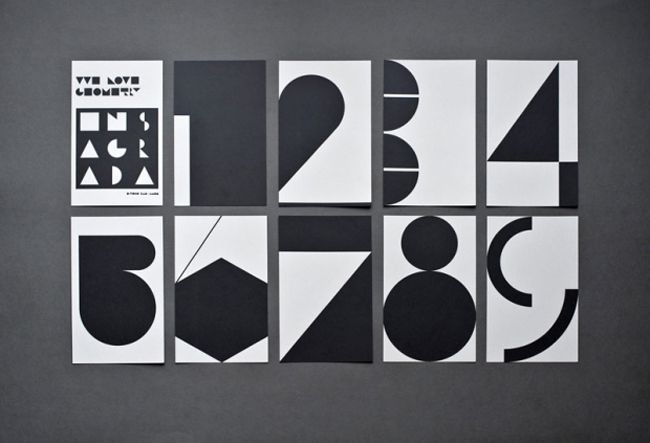 """By Estudio Ibán Ramón titled """"We Love Geometry"""". The set consists of nine cards with unique geometrical renditions of the numbers one through nine. The cards fold out into posters and we discover that the numbers are part of a larger design. I like how this project works on two levels and features such bold black and white geometry and typography. Love how each number is given its own personality!"""